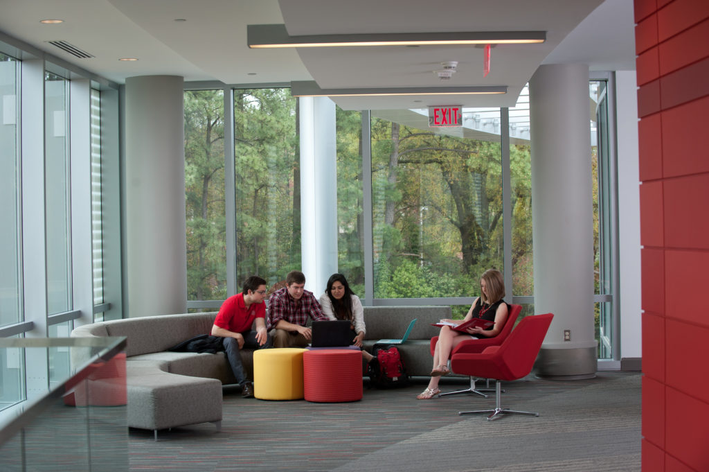 Students meeting and collaborating in a casual space in Talley Student Union.