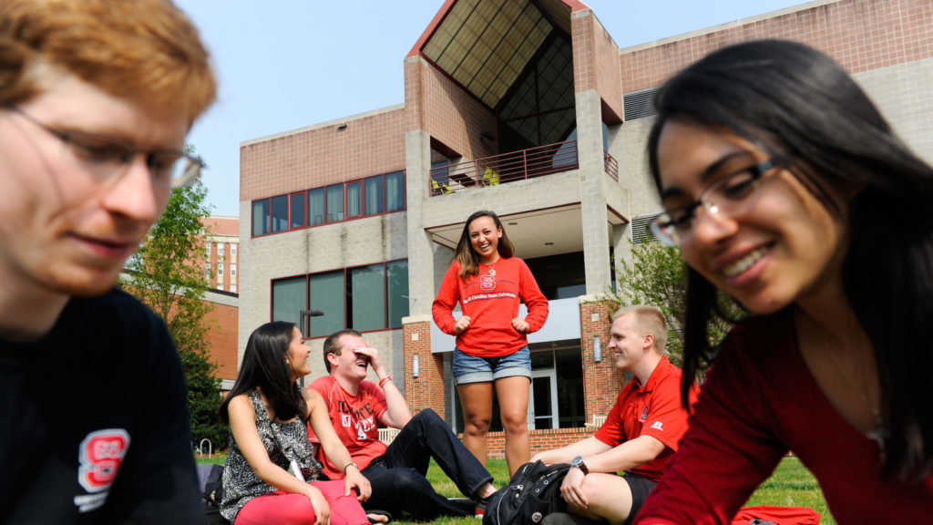 Students meet and collaborate outside Witherspoon Student Center.