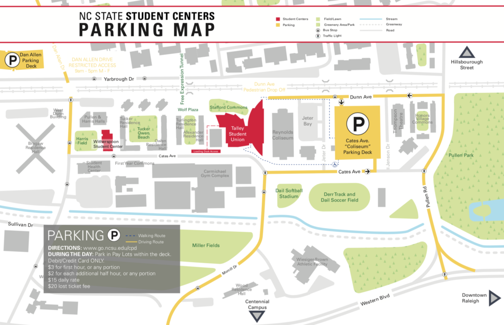 Printable parking map for the NC State Student Centers (PDF file).